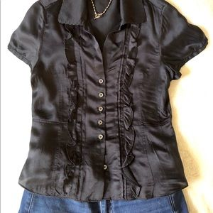 Banana Republic XS Black Silk Blouse